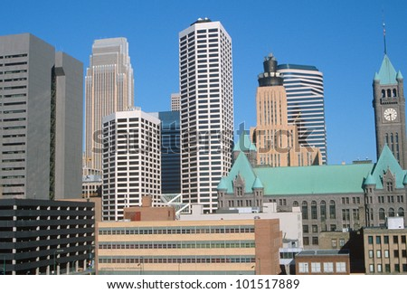 Skyline of the Twin Cities, downtown Minneapolis, Minnesota - stock photo