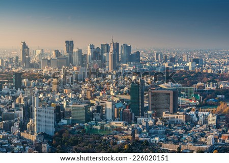 Skyline of Tokyo Cityscape at Sunset, Japan - stock photo