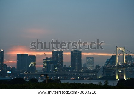 Skyline of Tokyo  from Odaiba, June, 2007. Late sunset.