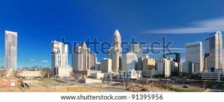 Skyline of Uptown Charlotte, North Carolina. - stock photo