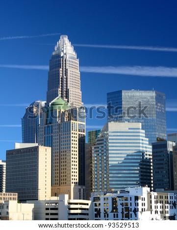 Skyline of Uptown Charlotte, North Carolina - stock photo