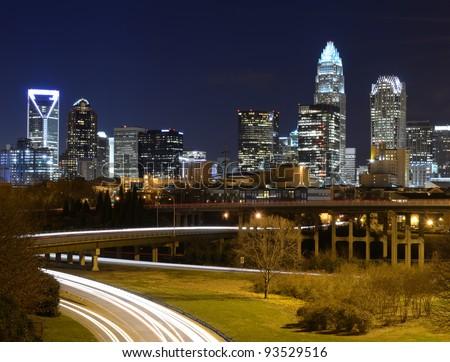 Skyline of uptown Charlotte, North Carolina at night. - stock photo