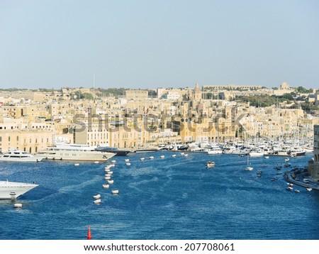 skyline of Valletta city in summer day, Malta - stock photo