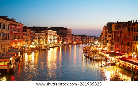 Skyline of Venice in beautiful twilight colors. Italy - stock photo