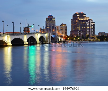 Skyline of West Palm Beach, Florida, USA. - stock photo
