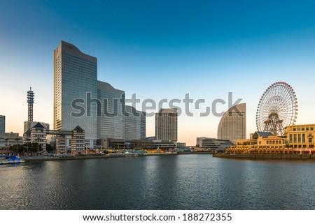 Skyline of Yokohama, Japan at Minato-mirai bay. - stock photo