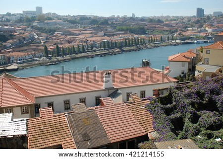 Skyline on the most famous Douro River, PORTO, PORTUGAL - stock photo