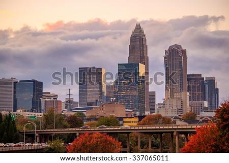 Skyline panorama of downtown Charlotte in north carolina, USA - stock photo
