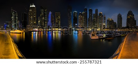 Skyline panorama picture shot at Dubai marina - stock photo