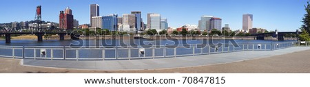 Skyline panorama, Portland Oregon. - stock photo