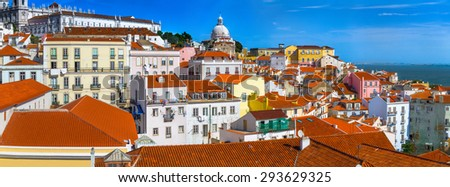 Skyline panoramic view Alfama in the capital and the largest city of Portugal. - stock photo
