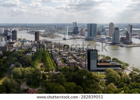 Skyline Rotterdam from above - stock photo