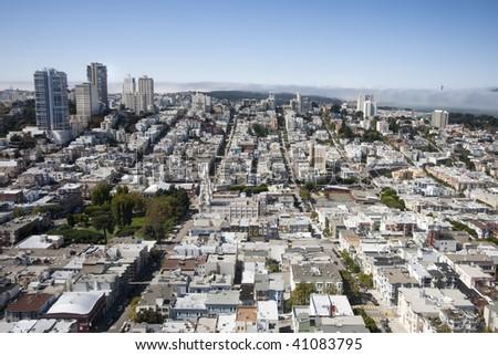 Skyline, San Francisco in California, USA - clear sky, Golden Gate Bridge in the distance - stock photo