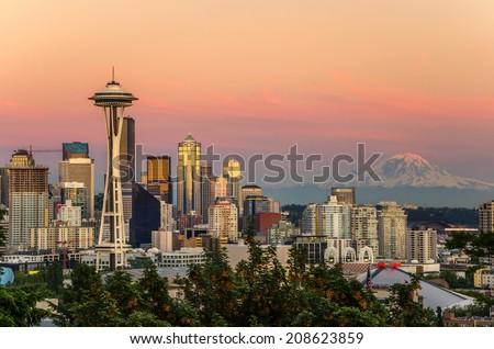 Skyline Seattle and Mount Rainier at Sunset - stock photo