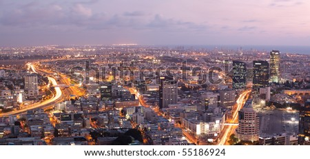 Skyline -  Tel Aviv at sunset - stock photo