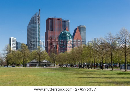 Skyline The Hague with skyscrapers and city park, The Netherlands