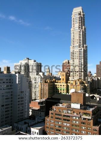 Skyline, Upper East Side of Manhattan, New York City - stock photo
