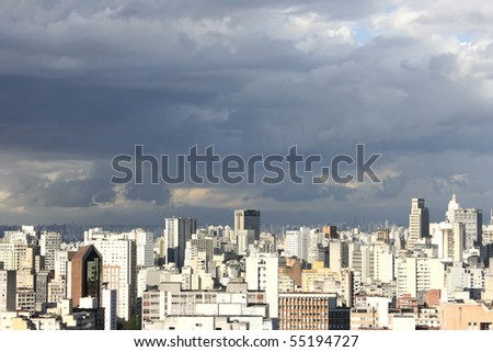 Skyline view from Higienopolis, Sao Paulo, Brazil. - stock photo