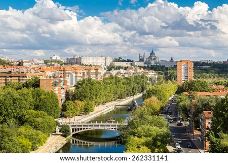 Skyline view of Almudena Cathedral and Royal Palace in Madrid, Spain - stock photo