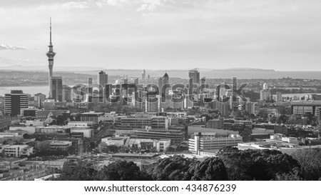 Skyline view of Auckland, New Zealand in black and white - stock photo