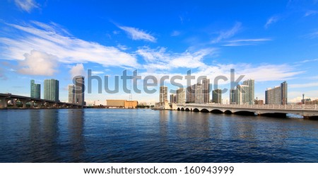 Skyline view of downtown Miami from the Venetian Causeway drawbridge. - stock photo
