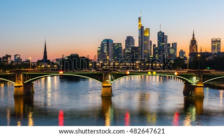 Skyline view of Frankfurt city at sunset, germany