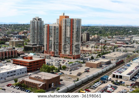 Skyline view of highrise office and apartment buildings in Calgary, Alberta, Canada - stock photo