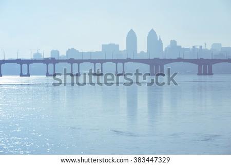 skyline, view of the city Dnepropetrovsk, Ukraine - stock photo