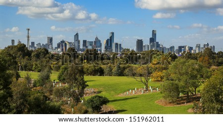 Skyline view of the city of Melbourne(the world's most liveable city for 2013) in Victoria, Australia.  - stock photo