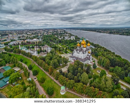 Skyline view of Yaroslavl city of Russia with Uspenskiy Cathedral in the center - stock photo