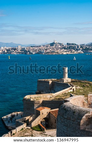 Skyline view over Marseille from The Chateau D'If on Isle D'if - stock photo