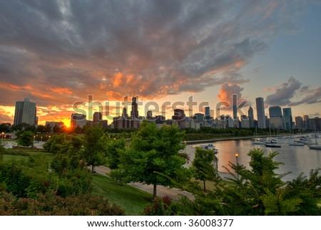 Skyline View with Sunset - stock photo