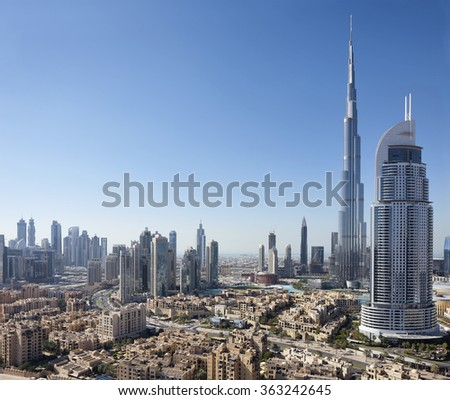 Skyline with Burj Khalifa, The Address and Old Dubai, Dubai, United Arab Emirates on the 9th of January 2016.