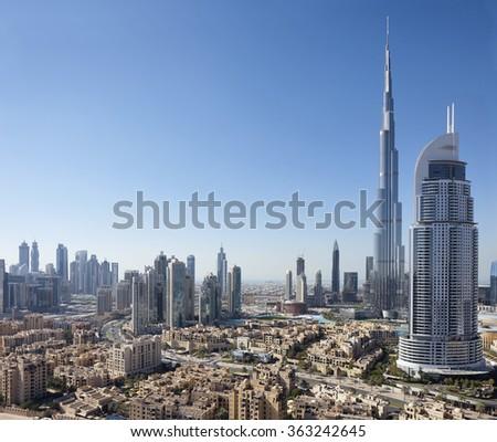 Skyline with Burj Khalifa, The Address and Old Dubai, Dubai, United Arab Emirates on the 9th of January 2016. - stock photo