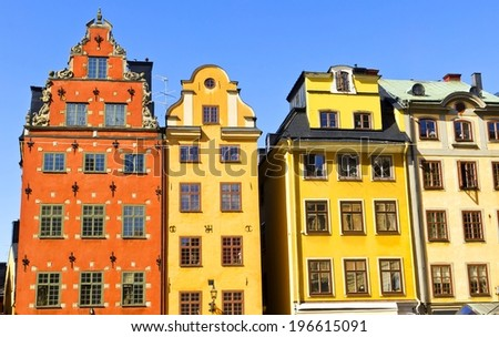 Skyline with colorful Houses of Stortorget place in Gamla stan, Stockholm, Sweden - stock photo