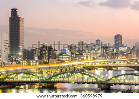 skyline with Highway in Tokyo, Japan at night - stock photo