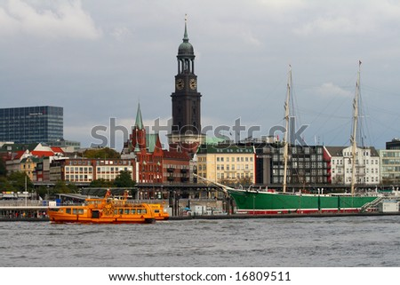 skyline with michael church, hamburg, germany