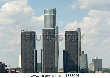 Skyline with three highrises - stock photo
