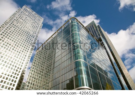 Skylines of finansal center - Canary Wharf, London, UK - stock photo