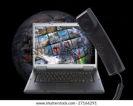 Skype phone on world background - stock photo