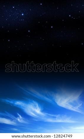 Skyscape, half daylight with clouds, half dark night with stars - stock photo