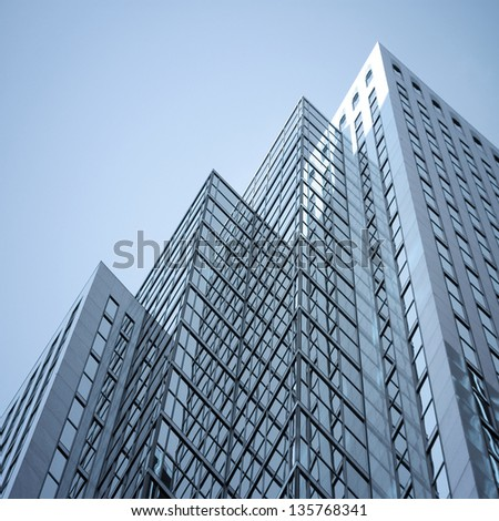skyscraper against sky ; building glass background ; square illustration - stock photo