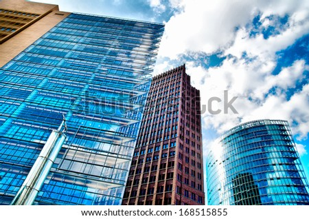 skyscraper against the blue sky - stock photo