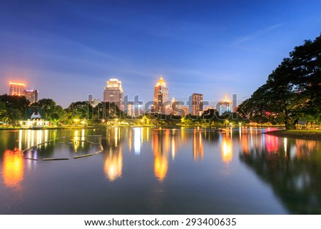 Skyscraper and Cityscape in Bangkok; many modern condominiums and business building on Sathorn and Silom road which presents Thailandâ??s economic growth gradually.      - stock photo