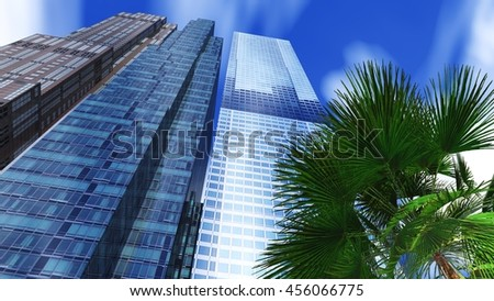 skyscraper and palm. business centers. 3d rendering - stock photo