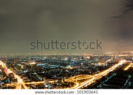 Skyscraper Bangkok downtown top View at Night from top of Thailand - stock photo