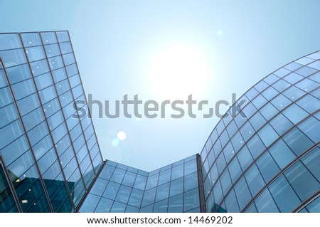 Skyscraper building blue sky - stock photo