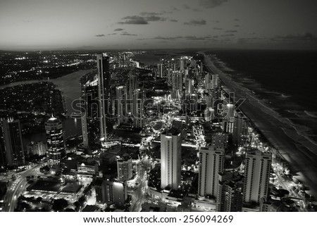 Skyscraper city - Surfers Paradise city in Gold Coast region of Queensland, Australia. Black and white tone - retro monochrome color style. - stock photo