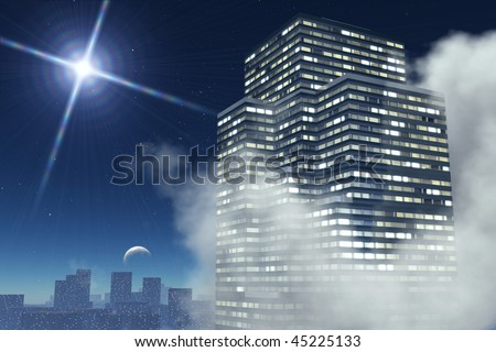 Skyscraper in the night wrap up  clouds on background of the city, night sky with moon