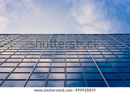 Skyscraper  reflection of the sky ; building glass background